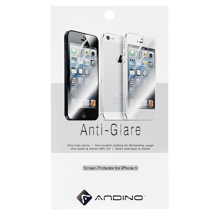Andino защитная пленка для iPhone 5, матоваяR0006843Защитная пленка для Apple iPhone 5 позволит уберечь любимый гаджет от появления царапин, отпечатков пальцев, сколов, пыли и влаги. Она не влияет на сенсорные качества дисплея и обладает высокой прозрачностью, легко наносится и так же легко снимается, не оставляя следов на дисплее.