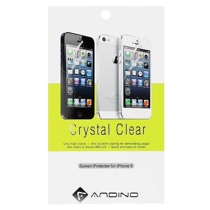 Andino защитная пленка для iPhone 5, глянцевая62038Защитная пленка для Apple iPhone 5 позволит уберечь любимый гаджет от появления царапин, отпечатков пальцев, сколов, пыли и влаги. Она не влияет на сенсорные качества дисплея и обладает высокой прозрачностью, легко наносится и так же легко снимается, не оставляя следов на дисплее.