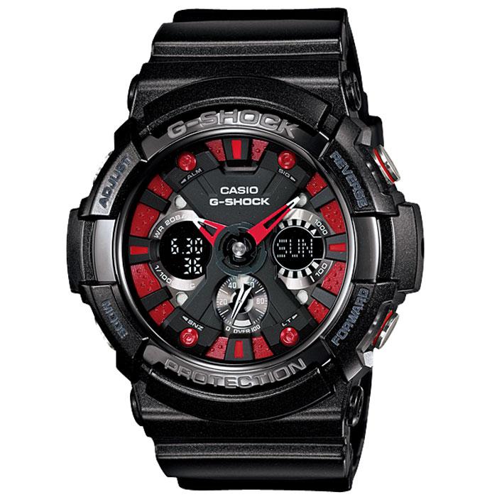 Наручные часы Casio GA-200SH-1AGA-200SH-1AУдаропрочные часы Casio GA-200SH. Автоматическая светодиодная подсветка: Для подсветки дисплея используется светодиод. Также имеется функция автоматического включения подсветки, если Вы наклоните часы к своему лицу. Функция секундомера: Измерение с точностью 1/1000 сек. времени прохождения круга и общего времени. Звуковые сигналы подтверждают начало или остановку секундомера. Предел измерений измерений составляет 100 часов. Функция таймера (с автоматическим повтором): Таймеры обратного отсчета напомнят Вам о текущих или особенных событиях, издав звуковой сигнал в установленное время. Время можно предварительно настроить от 1 минуты и до 24 часов. Часы могут затем автоматически начать отсчет в обратного времени в установленное время. Идеальное решение для людей, которым необходимо ежедневно принимать лекарства или выполнять промежуточные упражнения (тренировки). 5 ежедневных будильников: Будильник напомнит Вам о...