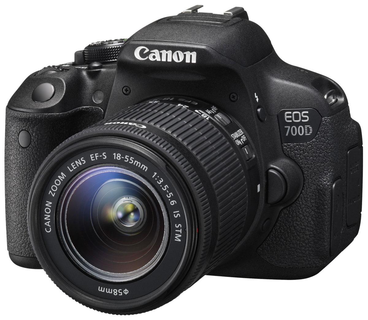 Canon EOS 700D Kit EF-S 18-55 IS STM цифровая зеркальная фотокамера8596B005Цифровая зеркальная камера Canon EOS 700D идеальна для первого опыта в мире изображений EOS. Сделайте шаг в мир цифровой зеркальной фотографии и раскройте свой творческий потенциал. 18-мегапиксельный датчик позволяет создавать превосходные фотографии и видео, а удобный сенсорный ЖК-экран с переменным углом наклона Clear View II превращает съемку в удовольствие. Превосходное качество изображения: Запечатлейте каждую деталь благодаря 18-мегапиксельной матрице с гибридным CMOS-автофокусом. EOS 700D позволяет создавать изображения с низким уровнем шумов, которые можно распечатывать в большом разрешении, либо кадрировать и менять композицию. Видео в формате Full HD: Снимайте видео с разрешением 1080p и с выбором оптимального уровня автоматического или ручного контроля. Технология гибридной автофокусировки обеспечивает автоматическую непрерывную фокусировку при съемке видео. EOS 700D поддерживает почти бесшумную следящую автофокусировку для видео,...