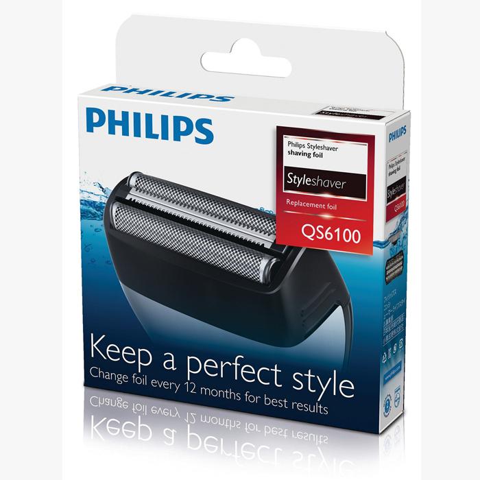 Philips QS6100/50 бритвенная головкаQS6100/50Бритвенная головка Philips QS6100/50. 100%-ая водонепроницаемость для использования в душе и удобства очистки: Подходит для сухого и влажного бритья и подравнивания. Чтобы очистить устройство, просто промойте его под струей воды. Для качественного бритья заменяйте бритвенные сетки каждые 12 месяцев: 1. отсоедините насадку бритвы с устройства Styleshaver. 2. Снимите старую сетку и режущие блоки. 3. Поместите новую сетку в держатель. 4. Поместите новые режущие блоки в устройство Styleshaver и нажмите на новый держатель и сетку до щелчка. Двойная бритва с триммером сбривает даже самые жесткие волоски: Двойная бритвенная сетка позволяет с легкостью сбривать щетину вокруг бороды и даже на шее. Средний триммер сбривает более длинные и жесткие волосы, а 2 плавающие сетки обеспечивают гладкое бритье на остальных участках лица. Подходит для для Philips QS6140, QS6160