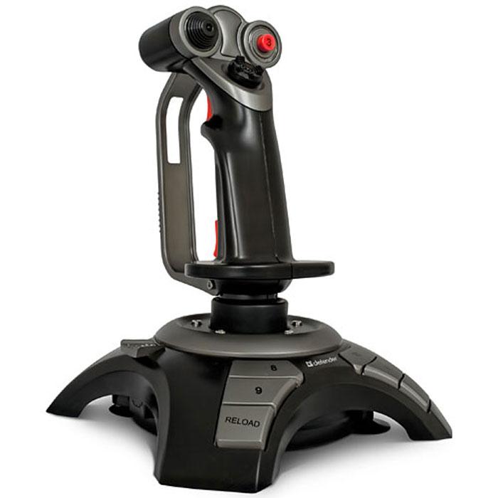 Defender Cobra R4 джойстик64304Defender Cobra R4 - джойстик, обеспечивающий полное превосходство в воздухе. Специальная конструкция крепления исключает возможность скольжения и перемещения джойстика даже во время самых яростных баталий. 12 программируемых кнопок позволяют настраивать управление боевым самолетом, а также эмулировать работу клавиатуры и мыши. 4 оси позиционирования: газ, тормоз, рысканье и тангаж. Благодаря этой функции Вы сможете достичь наиболее реалистичного управления истребителем, маневрировать по любой доступной траектории. Также Вы можете настраивать чувствительность оси OZ для более точного маневрирования по горизонтальной плоскости. Джойстик имеет встроенный вибромотор, что позволяет реализовать эффект виброотдачи (игра должна поддерживать режим виброотдачи). Эргономичная конструкция ручки предотвращает усталость кисти даже при многочасовой игре.