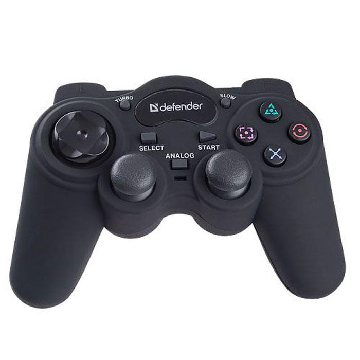 Defender Game Racer Turbo RS3 геймпад64251Геймпад Defender Game Racer RS3 отлично лежит в руке и потрясающе приятен на ощупь. Модель имеет мягкое прорезиненное покрытие. Два аналоговых джойстика позволяют играть в дополнительные игры, например, в футбольные симуляторы. Геймпад подходит как для ПК, так и для Sony PlayStation 2 и 3. Эффект вибрации делает аварии и столкновения более реалистичными (игра должна поддерживать функцию вибрации игрового контроллера). Режим Turbo позволяет максимально эффективно использовать оружие в шутерах. Сверхстойкое прорезиненное покрытие Soft Touch - специальное нескользящее покрытие приятно на ощупь и предотвращает скольжение геймпада в руках. Интерфейс: USB 2.0/3.0/PS Gameport Тип датчика: резистивный Количество осей позиционирования: 4