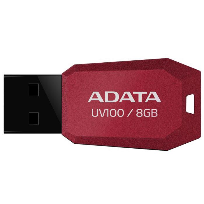ADATA UV100 8GB, Red флэш-накопительAUV100-8G-RRDТонкий флеш-накопитель ADATA UV100 расширяет предлагаемый широкий ассортимент портативных устройств хранения данных. Накопитель имеет бесколпачковую конструкцию, исключающую риск потери колпачка. Отверстие в корпусе позволяет легко носить накопитель на шнурке или брелоке для ключей. Для тех, кто разбирается в моде, накопитель выгодно отличается внешним видом, напоминающим огранку бриллианта, что позволяет владельцам подчеркнуть свой уникальный личный стиль. Обладая длиной всего 41 мм и толщиной лишь 5.8 мм, этот накопитель является в высшей степени компактным и экономичным решением для тех, кто считает переносимость данных насущной необходимостью.