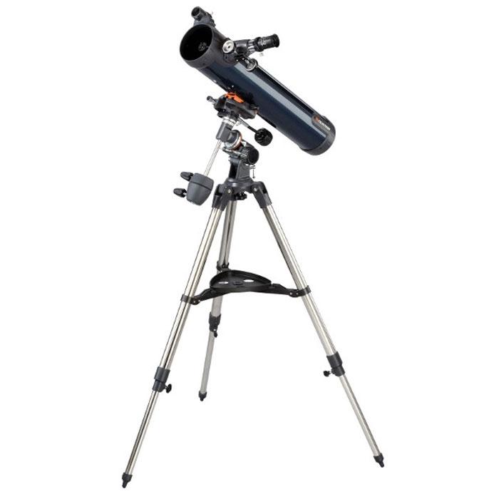 Celestron AstroMaster 76 EQ телескоп-рефлектор НьютонаC31035Телескоп Celestron AstroMaster 76 EQ - это мощный оптический инструмент, обладающий качественной оптикой, надежностью и простотой в эксплуатации. Устройство дает яркие, контрастные изображения тысяч объектов ночного неба, делая занятия астрономией интересными и доступными каждому. Телескоп быстро подготавливается к работе, не требуя инструментов для сборки, и практически не нуждается в техническом обслуживании. Телескопы серии AstroMaster оснащены переработанными искателями StarPointer, упрощающими наведение на цель, быстросъемными приспособлениями типа «ласточкин хвост» для крепления оптической трубы, удобными полочками для аксессуаров и легкими, предварительно собранными стальными треногами. Телескопы имеют ручное управление, позволяющее легко и быстро находить небесные объекты и следить за ними. Интересуют наблюдения наземных объектов? Оптика с прямым изображением идеально подходит для этих целей.