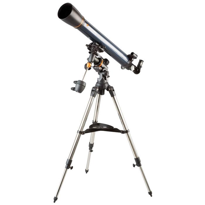 Celestron AstroMaster 90 EQ телескоп-рефракторC21064Телескоп Celestron AstroMaster 90 EQ - это мощный оптический инструмент, обладающий качественной оптикой, надежностью и простотой в эксплуатации. Устройство дает яркие, контрастные изображения тысяч объектов ночного неба, делая занятия астрономией интересными и доступными каждому. Телескоп быстро подготавливается к работе, не требуя инструментов для сборки, и практически не нуждается в техническом обслуживании. Телескопы серии AstroMaster оснащены переработанными искателями StarPointer, упрощающими наведение на цель, быстросъемными приспособлениями типа «ласточкин хвост» для крепления оптической трубы, удобными полочками для аксессуаров и легкими, предварительно собранными стальными треногами. Телескопы имеют ручное управление, позволяющее легко и быстро находить небесные объекты и следить за ними. Интересуют наблюдения наземных объектов? Оптика с прямым изображением идеально подходит для этих целей.