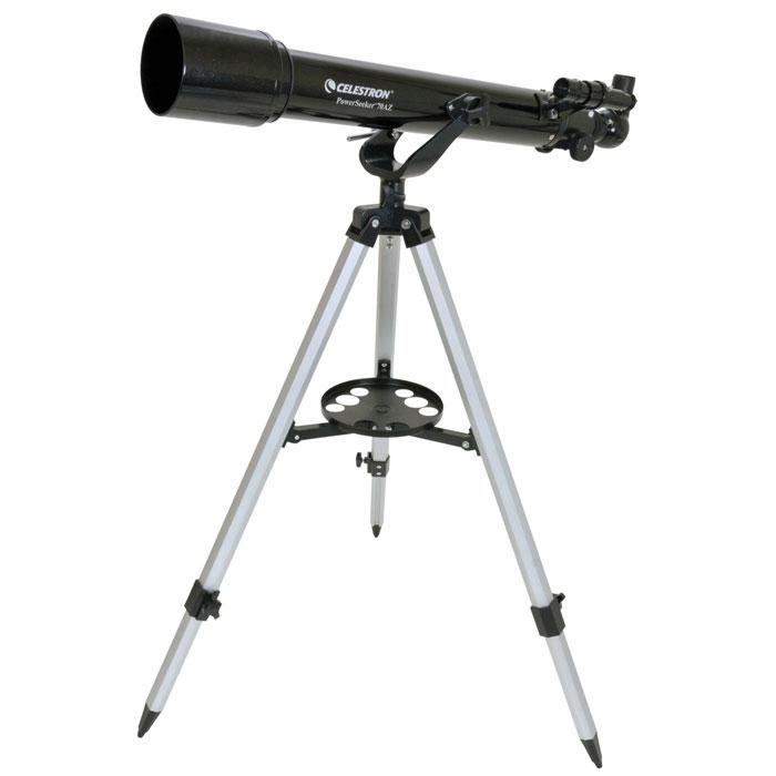 Celestron PowerSeeker 70 AZ телескоп-рефракторC21036Телескоп Celestron PowerSeeker 70 AZ обладает необходимым для начинающего наблюдателя набором базовых функций. Теперь, с помощью этого телескопа Вы сможете познакомить своего ребенка со звездным небом, не тратя на оборудование астрономические суммы. Во всех инструментах серии PowerSeeker используются только стеклянные объективы, имеющие большое преимущество перед пластиковыми линзами, используемыми в телескопах начального уровня некоторых других производителей. Для улучшения пропускания света на оптические элементы нанесено эффективное просветляющее покрытие.