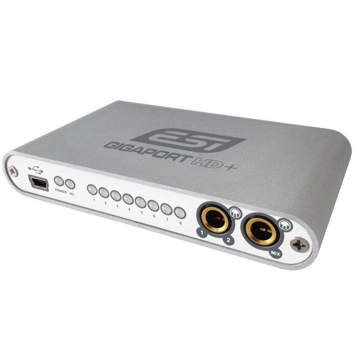 ESI GigaPort HD+ звуковая картаGigaPort HD+Компактный аудиоинтерфейс ESI GigaPort HD+ с разъемом USB. Устройство оснащено 8 независимыми выходами (с поддержкой формата 7.1) и 2 стереовыходами для наушников и обеспечивает качественное звучание (поддержка 24 бит 96 кГц). ESI GigaPort HD+ использует драйвера ASIO 2.0 для профессионального микширования и воспроизведения при работе в среде Windows XP/Vista/7 (32/64-bit). Устройство также совместимо с CoreAudio, что позволяет работать в операционной системе Mac OS X без установки специальных драйверов. ESI GigaPort HD+ прекрасно подходит для диджеев, работающих с цифровыми носителями на ноутбуках. Используйте Ваше любимое ПО и 8 выходов на устройстве в качестве 4 стереоканалов и микшируйте, добавляйте звуковые эффекты. С помощью двух выходов для наушников Вы можете предварительно прослушивать треки и следить за качеством звука.