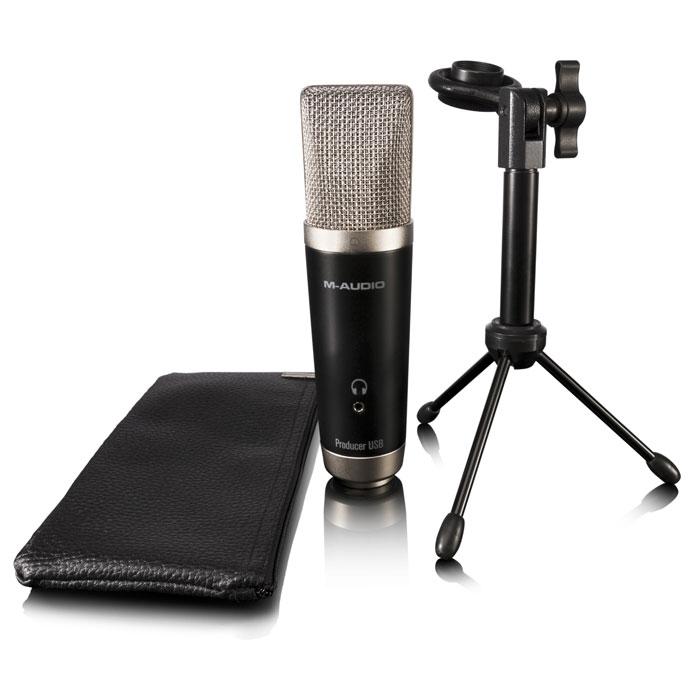 M-Audio Vocal Studio комплект для записи вокалаVocal StudioВокальная студия M-Audio Vocal Studio предлагает USB микрофон студийного качества. Микрофон снабжен большой диафрагмой для захвата тонких элементов вокальных выступлений. Устройство обладает большой кардиоидной капсулой, защищенной сеткой, прочным металлическим корпусом, 1/8-дюймовым стерео выходом, USB-разъемом, 16-битной записью с частотой 44,1 или 48 кГц и многим другим. Прочный металлический корпус Светодиодный индикатор питания Микширование до 24 треков (16 аудио треков, 8 виртуальных инструментальных треков) Интегрированный инструментарий обучения позволяет легко создавать музыку Встроенная функция компоновки, включая MIDI секвенсор и Score редактор Более 100 различных виртуальных инструментов Эффекты: reverb, EQ и гитарный усилитель/дисторшн Запись одновременно двух инструментов Совместимость: PC (Windows 7 Home Premium, Professional, Ultimate Service Pack 1, Windows 8, Windows 8 Pro), Mac OS X 10.7.5 or 10.8