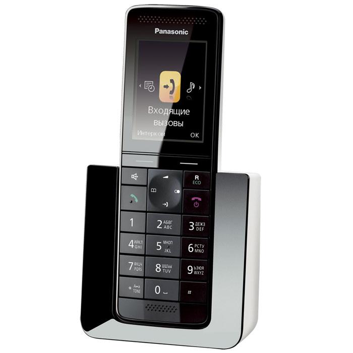 Panasonic KX-PRS110 RUWKX-PRS110RUWБеспроводной телефон сегмента «премиум» Panasonic KX-PRS110RU. Новинка совместила в себе уникальный дизайн и расширенные функциональные возможности. Модель KX-PRS110RU представляет собой воплощенное совершенство форм и дизайна. Стильная трубка отлично впишется в любой интерьер, как в офисе, так и дома. Изысканные материалы отделки, 2.2 дюймовый цветной TFT дисплей с четкими графическими иконками сделают использование этой модели максимально приятным и комфортным. Panasonic KX-PRS110RU оснащен голосовым АОН, Caller ID, функцией радионяня, эко-режимом и функцией снижения уровня фонового шума, позволяющей снизить уровень окружающих шумов со стороны другого абонента и обеспечить чистый звук во время разговора. Модель совместима с брелоком-искателем KX-TGA20RU, имеет возможность одновременно подключать до 6 дополнительных трубок для удобной организации связи, а также оснащена телефонным справочником, вмещающим до 300 контактов.