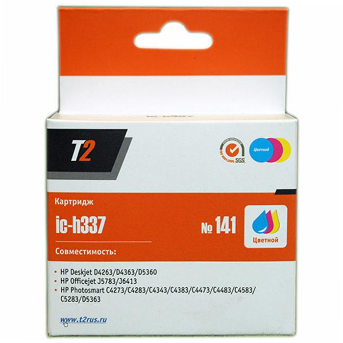 T2 IC-H337 картридж для HP Deskjet D4263/D5360/Officejet J5783/J6413/Photosmart C4273 (№141), цветной