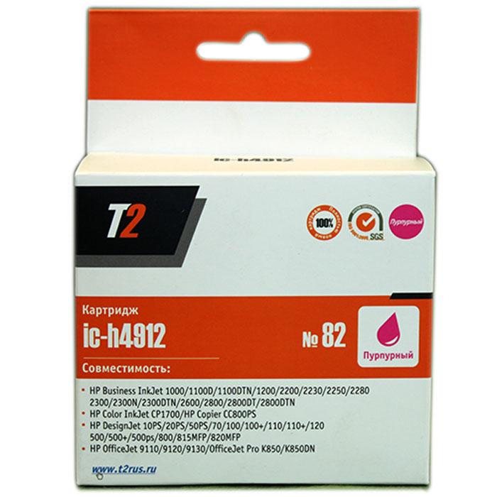 T2 IC-H4912 картридж для HP DesignJet 500/510/800/815MFP/820MFP/CC820PS (№82), Magenta