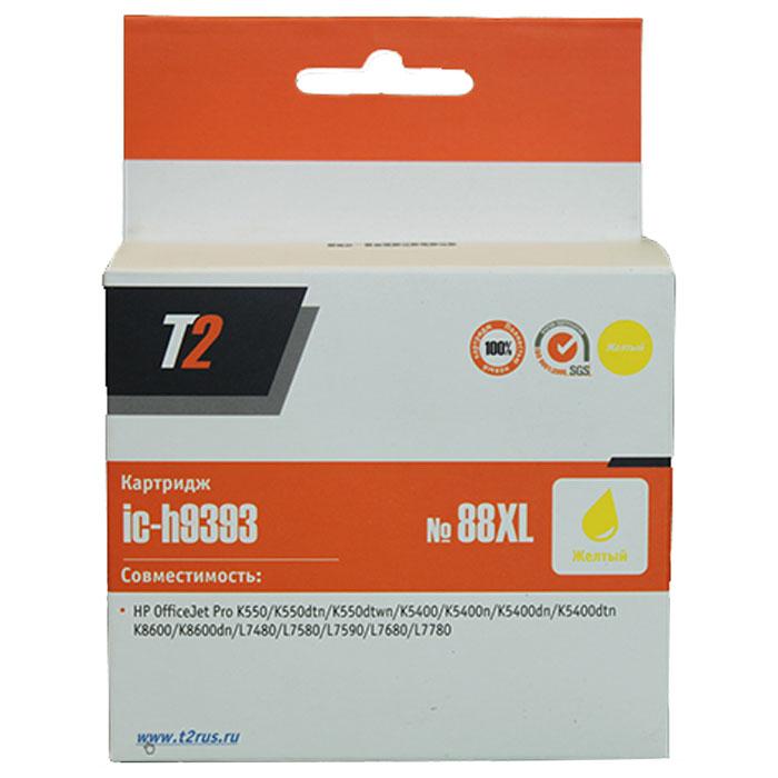 T2 IC-H9393 картридж для HP OfficeJet Pro K550/K5400/K8600/L7480/L7580/L7680/L7780 (№88XL), Yellow