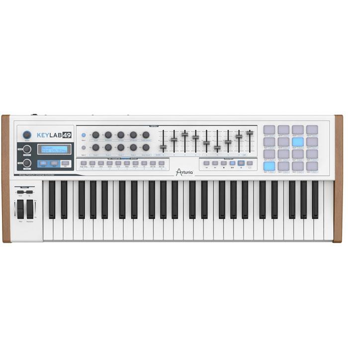 Arturia KeyLab 49 Midi-клавиатураArturia49 клавишная MIDI-клавиатура Arturia KeyLab 49 идеально впишется в переполненную профессиональную установку. Клавиатура обладает полувзвешенными клавишами, чувствительными к скорости нажатия, функцией послекасания. Arturia KeyLab 49 имеет назначаемые поворотные регуляторы, фейдеры и переключатели.