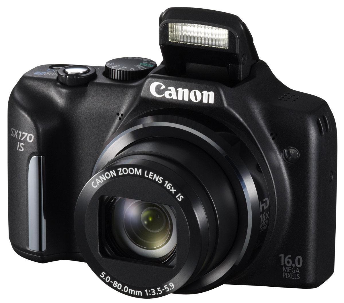 Canon PowerShot SX170 IS, Black цифровая фотокамера8410B002Компактный цифровой фотоаппарат Canon PowerShot SX170 IS. Оптический зум 16x, широкоугольный объектив Canon 28 мм: Почувствуйте себя в центре семейных событий с 16-кратным оптическим зумом Canon, который позволяет снимать любую сцену с превосходной детализацией; до 32 раз ближе с функцией ZoomPlus. Широкоугольный объектив 28 мм позволяет снимать впечатляющие пейзажи и прекрасно подходит для создания групповых снимков. 16 мегапикселей: 16-мегапиксельный датчик изображения позволяет получить фотографии в высоком разрешении, которые можно печатать в очень крупных форматах (А3+) или обрезать для создания нужной композиции. Интеллектуальный стабилизатор изображения: Создавать четкие фотографии и плавное видео легко - даже при съемке с максимальным приближением или съемке с рук при низкой освещенности - благодаря интеллектуальной стабилизации изображения, которая автоматически настраивает оптический стабилизатор изображения под различные...