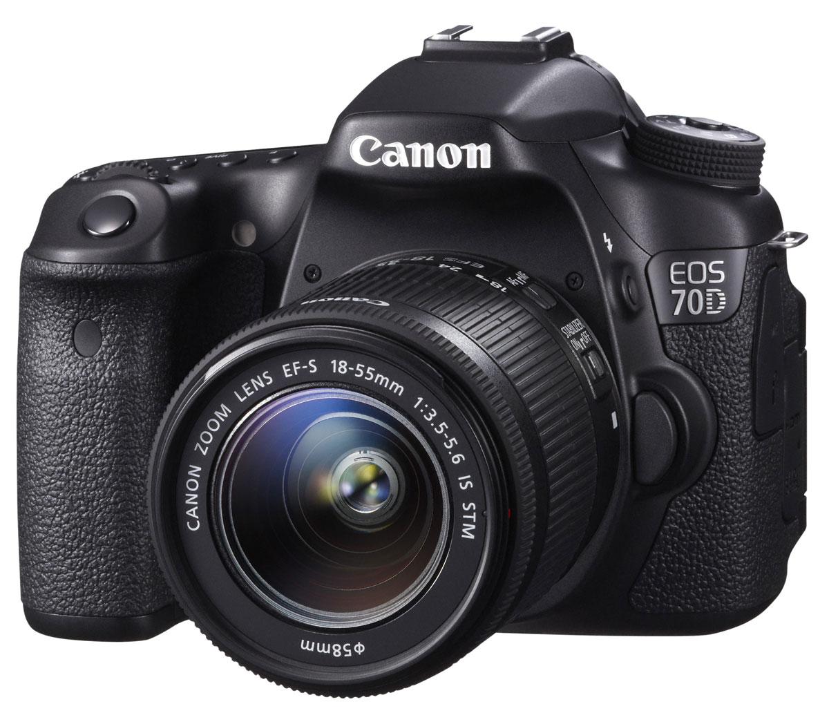 Canon EOS 70D Kit 18-55 IS STM цифровая зеркальная фотокамера8469B011Сохраняйте важные моменты жизни, делая потрясающие снимки или видеозаписи в формате Full HD с помощью высокопроизводительной камеры Canon EOS 70D со скоростью съемки 7 кадров/с при полном разрешении, усовершенствованной 19-точечной системой автофокусировки и уникальной технологией двухпиксельного CMOS-автофокуса компании Canon. CMOS-датчик с 20,2 млн. пикселей и процессор DIGIC 5+: Высокопроизводительная камера EOS 70D оснащена CMOS-датчиком APS-C с 20,2 млн. пикселей и мощным процессором обработки изображения DIGIC 5+, что позволяет получать безупречно четкие 14-битные изображения и передавать мельчайшие детали. Естественность цветопередачи дополнена плавностью переходов полутонов. Поймайте момент: Получать превосходные фотографии быстро перемещающихся объектов (как, например, в спорте или дикой природе) теперь просто благодаря использованию серийной съемки со скоростью 7 кадров/с при полном разрешении и высокопроизводительной...