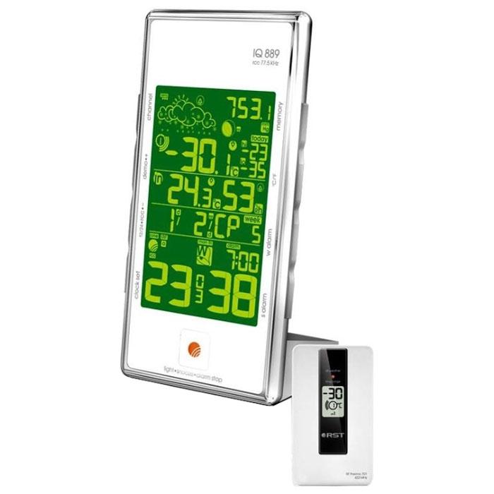 RST02889 погодная станция с радиодатчиком2889Метеостанция RST02889 обладает интеллектуальной подсветкой, цвет которой зависит от изменения погоды. Термометр способен измерять температуру в помещении и на улице благодаря высокочувствительным беспроводным термодатчикам с радиусом приема сигнала 100 м.