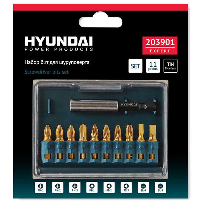 Hyundai набор бит TIN, 11 шт203901Универсальный набор из 11 бит PH-PZ-SL Hyundai 203901. Биты изготовлены из специальной закаленной хромомолибденовой стали S2 типа и покрыты нитридом титана TIN для увеличения ресурса. В комплект также входит магнитный держатель для бит длиной 60 мм.