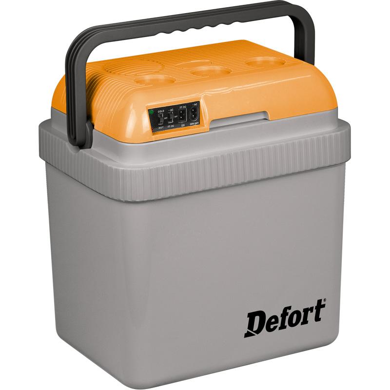 Холодильник автомобильный Defort DCF-12/23098291124Холодильник автомобильный Defort DCF-12/230 позволяет охладить продукты летом или сохранить их горячими зимой. Вы можете использовать его во время работы и отдыха, в машине, на открытом воздухе или в помещении. Для достижения наилучшего эффекта используйте предварительно охлажденные или замороженные продукты. В помещении этот холодильник может работать от электросети, разогревая или охлаждая продукты. Его дизайн позволяет поставить его в гостиной, холле гостиницы или офиса. Прибор работает на основе полупроводников, без использования фреона или компрессора. Поэтому он потребляет мало электроэнергии, имеет малый вес, компактные размеры и долгий срок службы.