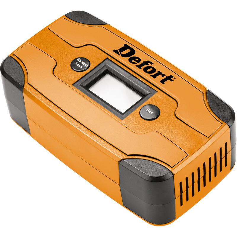 Устройство зарядное Defort DBC-6D98299571Зарядное устройство Defort DBC-6D предназначено для зарядки всех типов свинцово-кислотных аккумуляторных батарей, в том числе так называемых «мокрых», необслуживаемых, клапанных (для источников бесперебойного питания), абсорбирующих стекловолоконных и большинства гелевых АКБ. Зарядное устройство рекомендуется для зарядки АКБ емкостью от 7 до 70 А/ч и напряжением 6/12В. Устройство имеет следующие виды защит: от перегрузки, от обратной полярности, от короткого замыкания.