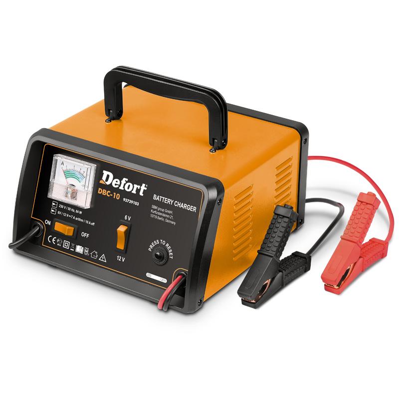 Устройство зарядное Defort DBC-1093729103Зарядное устройство Defort DBC-10 предназначено для зарядки свинцово-кислотных аккумуляторных батарей напряжением 12В. Устройство имеет следующие виды защит: от перегрузки, от обратной полярности, от короткого замыкания.