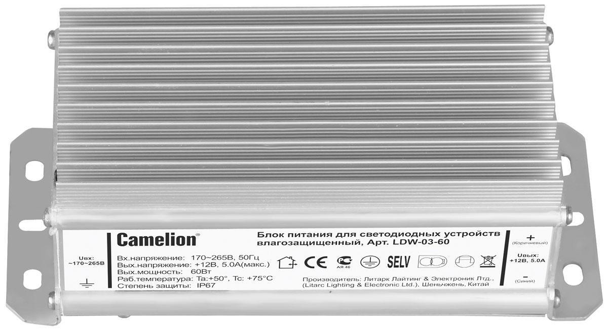 Camelion LDW-03-60 блок питания для светодиодных лент, 60Вт11154Влагозащищенный блок питания Camelion LDW-03-60 для обеспечения работы светодиодных устройств, в том числе светодиодных лент.