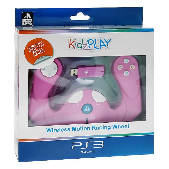 Детский беспроводной руль Kidz Play для PS3 (розовый)PSV-078EПолнофункциональный беспроводной контроллер движений в виде руля Kidz Play позволяет игрокам младшего возраста получать самые яркие впечатления от гоночных игр с максимальным комфортом и удобством. Корпус устройства пропитан антибактериальным составом, уничтожающим до 99,9% вредоносных микроорганизмов в течение 24 часов. Состав добавлен к пластику перед формовкой, он не смоется и не сотрется во время использования устройства и обеспечит непрерывную защиту в течение всего срока службы устройства, не нарушая эстетику внешнего вида и не оказывая негативного влияния на эксплуатационные качества.