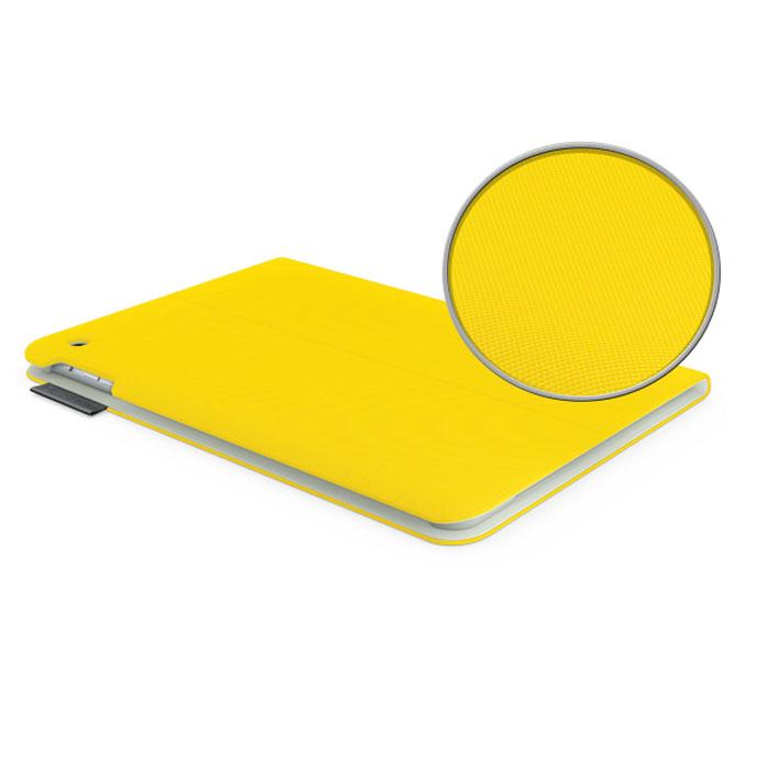 Logitech Folio защитный чехол для iPad Air, Sunflower Yellow (939-000670)939-000670Logitech Folio для iPad Air - ультратонкий сверхлегкий чехол-книжка, который надежно защищает iPad от случайных ударов, царапин и брызг. Он закрывает гаджет спереди и сзади и изготовлен из прочных водоотталкивающих материалов. Также чехол-книжка складывается в подставку, которая фиксирует iPad в нескольких положениях. Автозасыпание и автопробуждение: iPad всегда готов к работе. Logitech Folio выводит iPad из режима сна при открытии крышки и возвращает его в режим сна при закрытии.