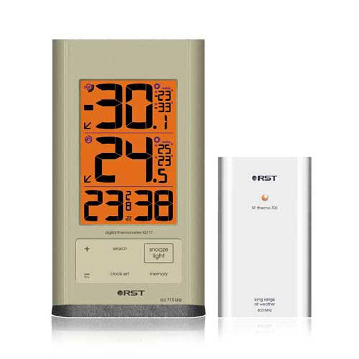 RST02717 термометр с радиодатчиком2717RST02717 - цифровой термометр с выносным радиодатчиком. Имеет функцию сохранения температурных значений