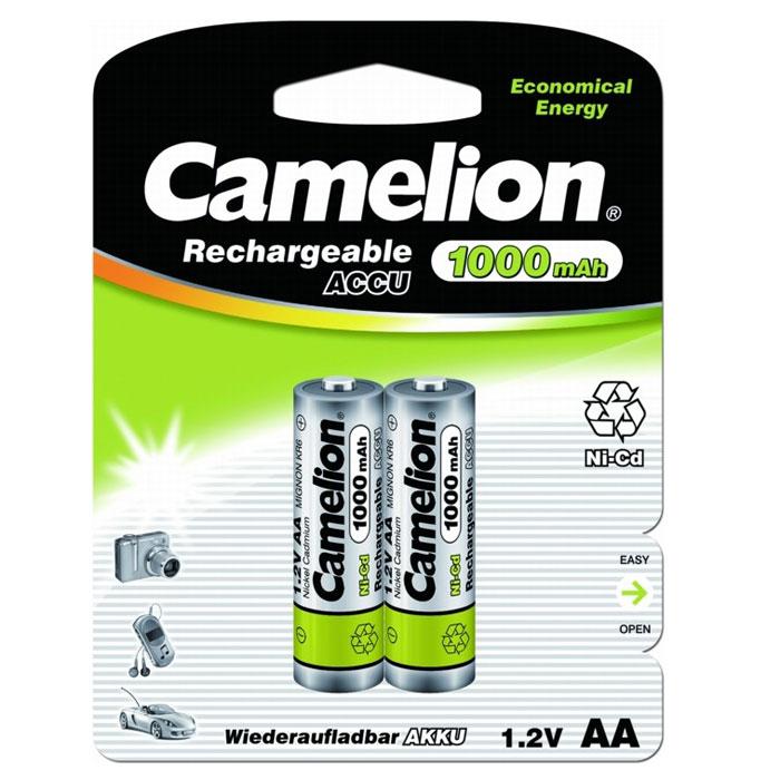 Camelion AA-1000mAh Ni-Cd BL-2 (NC-AA1000BP2) 2 аккумулятора, 1.2В6181Никель-кадмиевые батарейки Camelion AA-1000mAh Ni-Cd BL-2 (NC-AA1000BP2) характеризуются долгим сроком службы и способны поддерживать 90% требуемого напряжения во время их использования при стабильном и высоком уровне мощности. Оптимально подходят для моторизованных устройств, требующих поддержания стабильно высокой скорости работы. Применяются в приборах для обеспечения мощного бесперебойного освещения и радиоуправляемых игрушках.