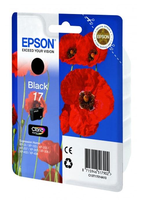Epson 17 картридж для XP-33/XP-103/XP-406, черныйC13T17014A10Картридж стандартной емкости с пигментными черными чернилами для XP-33/XP-103/XP-406. Измерен по стандарту ISO/IEC FCD 24711 и 24712.