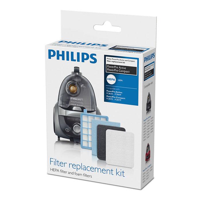 Philips FC8058/01 набор аксессуаров для пылесосов серий FC863X и FC847XFC8058/01Philips FC8058/01 - комплект сменных фильтров подходит для пылесосов PowerPro Active и PowerPro Compact. В набор входят: фильтр HEPA с внутренним губчатым слоем и два выходных фильтра.