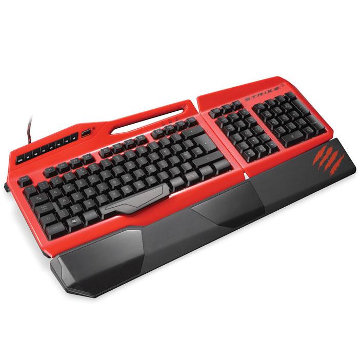 Mad Catz S.T.R.I.K.E.3, Red игровая клавиатура для PC (MCB43112R013/04/1)MCB43112R013/04/1Игровая клавиатура Mad Catz S.T.R.I.K.E. 3 имеет встроенную полноцветную подсветку для клавиш, цвет которой может быть уникально настроен для каждого пользователя (по заявлению производителя доступно 16 млн. цветовых оттенков). Присутствуют двенадцать специальных программируемых клавиш с тремя режимами работы, что позволяет для них назначить, в общей сложности, тридцать шесть команд. Как и в предыдущих продуктах серии, в клавиатуре S.T.R.I.K.E. 3 предусмотрена съёмная подставка для кистей рук, а сама модель состоит из модулей. Самая важная особенность заключается в том, что клавиатура использует в своей основе специальные мембраны, которые заменили механические переключатели. Сохраняются те же самые привычные тактильные ощущения, но при этом заметно уменьшится звук нажатия и ход клавиш.