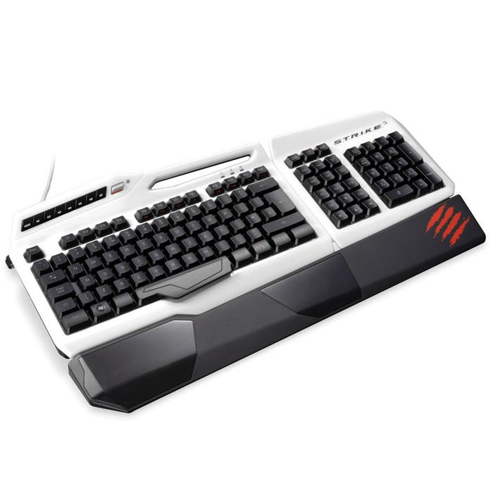 Mad Catz S.T.R.I.K.E.3, White игровая клавиатура для PC (MCB43112R001/04/1)MCB43112R001/04/1Игровая клавиатура Mad Catz S.T.R.I.K.E. 3 имеет встроенную полноцветную подсветку для клавиш, цвет которой может быть уникально настроен для каждого пользователя (по заявлению производителя доступно 16 млн. цветовых оттенков). Присутствуют двенадцать специальных программируемых клавиш с тремя режимами работы, что позволяет для них назначить, в общей сложности, тридцать шесть команд. Как и в предыдущих продуктах серии, в клавиатуре S.T.R.I.K.E. 3 предусмотрена съёмная подставка для кистей рук, а сама модель состоит из модулей. Самая важная особенность заключается в том, что клавиатура использует в своей основе специальные мембраны, которые заменили механические переключатели. Сохраняются те же самые привычные тактильные ощущения, но при этом заметно уменьшится звук нажатия и ход клавиш.