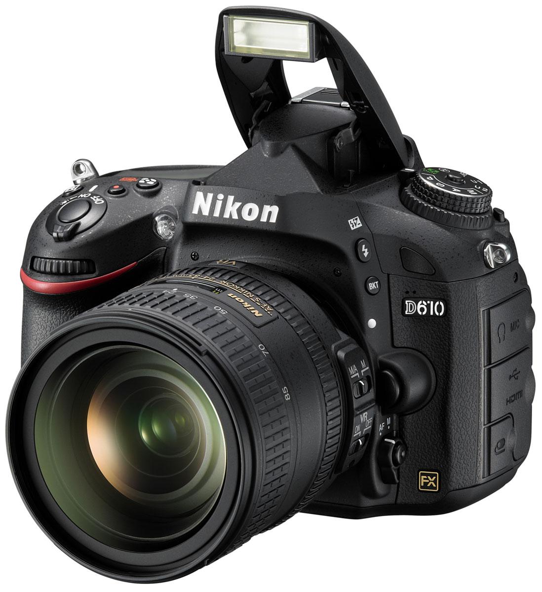 Nikon D610 Kit 24-85 цифровая зеркальная фотокамераVBA430K001Оцените все преимущества фотосъемки в полнокадровом режиме с фотокамерой Nikon D610. Благодаря поддержке профессиональных технологий Nikon эта мощная цифровая зеркальная фотокамера обеспечивает качество изображения, возможное только при использовании формата FX. 24,3-мегапиксельная матрица формата FX запечатлевает все детали с реалистичной резкостью, что позволяет снимать изумительные фотографии с насыщенными цветами и создавать плавные видеоролики в формате Full HD. Вы можете запечатлеть движение со скоростью до шести кадров в секунду, а новый режим серийной съемки Режим серийной съемки «Тихий затвор» идеально подходит для съемки диких животных благодаря существенному снижению шума от работы механизма возврата зеркала фотокамеры во время серийной съемки, что позволяет незаметно приблизиться к объекту съемки. Снимайте изображения с низким уровнем шума и широким диапазоном тонов в условиях большого контраста между яркими и темными участками....