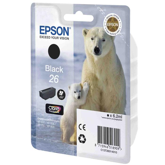 Epson 26 (C13T26014010), Black картридж для XP-600/XP-700/XP-800C13T26014010Картридж стандартной емкости Epson 26 с пигментными черными или водорастворимыми цветными чернилами для струйных МФУ Epson.