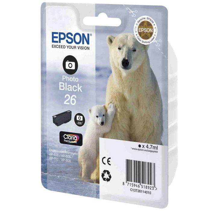 Epson 26 (C13T26114010), Photo Black картридж для XP-600/XP-700/XP-800C13T26114010Картридж стандартной емкости Epson 26 (C13T26114010) с водорастворимыми черными фото чернилами для печати фотографий для МФУ Epson.