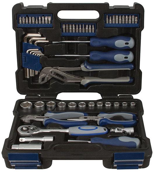 Набор инструмента FIT автомобильный, 61 предмет65208Набор инструментов FIT предназначен для монтажа и демонтажа резьбовых соединений. Все инструменты в наборе изготовлены из высококачественной стали. Поставляется в пластиковом кейсе. Это необходимый предмет в каждом доме, набор станет незаменимым в Вашем хозяйстве. В набор входят: Головки 3/8: 8 мм, 9 мм, 10 мм, 11 мм, 12 мм, 13 мм, 14 мм, 15 мм, 16 мм, 17 мм, 19 мм, 22 мм Головка на свечу зажигания 3/8: 21 мм Ключ трещеточный реверсивный 3/8: 21 см Удлинитель к торцевым ключам 3/8: 7,5 см Отвертки: SL 6 x 100 мм, PH2 x 100 мм Ключи шестигранные: 1,5 мм, 2 мм, 2,5 мм, 3 мм, 4 мм, 5 мм, 6 мм 8 мм, 10 мм Тонконосы: 16 см Бокорезы: 16 см Клещи переставные 25 см Биты: T10, T15, T20, T25, T30, T40, S0, S1, S2, S3, PZ0, PZ1, PZ2, PZ3, H2, H3, H4, H5, H6, H7, SL2, SL3, SL4, SL5, SL6, SL7, PH0, PH1, PH2, PH3. Переходник с биты на 1/4 Шарнирная муфта 3/8 Отвертка для бит с магнитным фиксатором.
