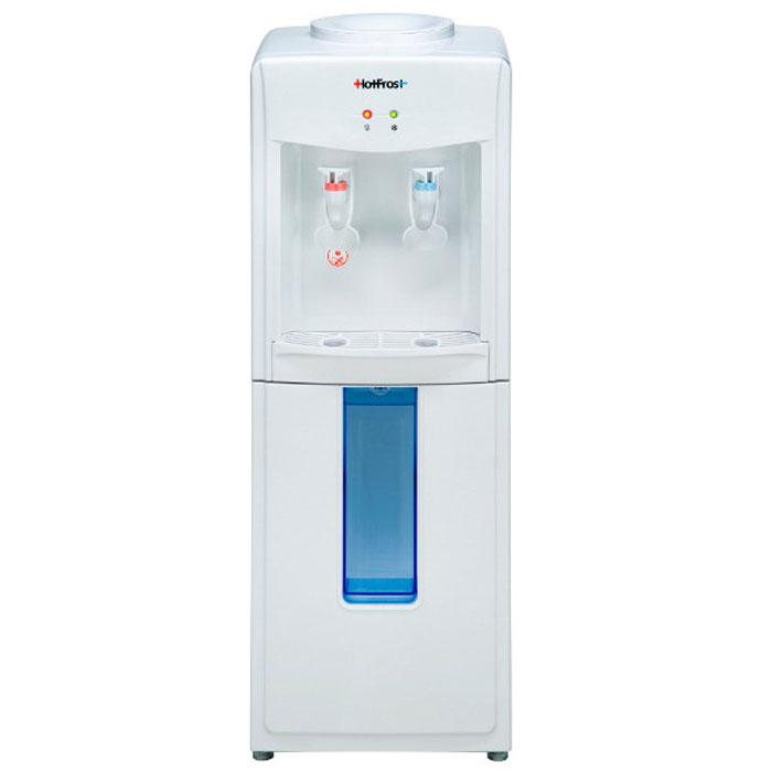 HotFrost V118 кулер для воды906Если Вы ищете недорогой, но при этом надёжный конструктивно и безопасный для здоровья аппарат для охлаждения и нагрева воды, обратите внимание на кулер HotFrost V 118. Используемое в диспенсере компрессорное охлаждение позволяет охлаждать воду до температуры +7°С даже при эксплуатации кулера в некондиционируемом помещении. Используемый в устройстве нажимной тип краников (нажим кружкой / одноразовым стаканчиком) позволяет пользователю интуитивно наполнить посуду водой, не вникая в конструктивные особенности диспенсера. Наличие нажимных краников, избавляющих пользователя от лишнего контакта с поверхностями кулера, вместе с откидным шкафчиком для удобного размещения одноразовых стаканчиков, позволяет использовать данную модель кулера в местах с повышенным количеством пользователей.