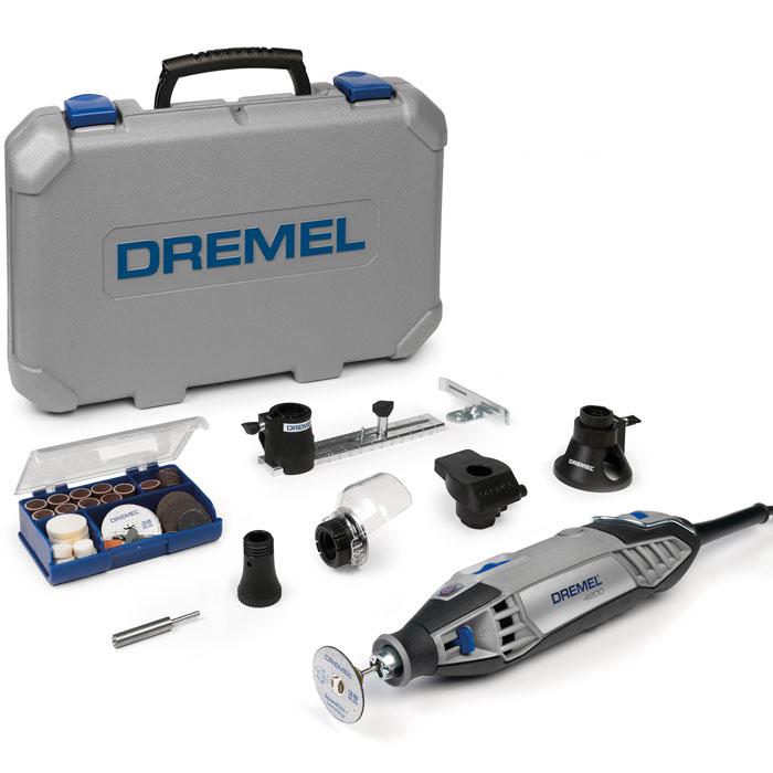 Гравер Dremel 4200-4/75 (F0134200JD)F0134200JDМногофункциональный инструмент Dremel 4200-4/75 (F0134200JD). Этот комплект включает в себя предыдущие модели Dremel 4200 с EZ Change - первое в мире изобретение с системой быстрой замены для мультифункционального инструмента. Кроме того, в комплект входят 4 приспособления: шаблон для резки, прямой и дисковый нож, формующая платформа и приставка Comfort Guard. Наряду с этими насадками также включены 75 оригинальных принадлежностей Dremel. Система быстрой замены насадок EZ Change. Бесступенчатый регулятор числа оборотов. Рукоятка с мягкой накладкой для комфортной работы. Отдельный выключатель для простоты использования. Константная электроника обеспечивает необходимый крутящий момент и увеличивает производительность. Не совместим с насадками 628, 4485 и 4486.