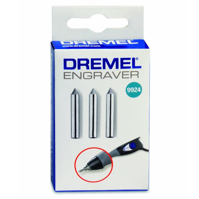 Насадка карбидная гравировальная Dremel 9924, 3 шт26159924JAКарбидная гравировальная насадка Dremel 9924 предназначены для использования с гравером Dremel Engraver 290. Диаметр хвостовика: 3,2 мм. Рабочий диаметр: 5,6 мм. Максимальная скорость: 30 000 об/мин.
