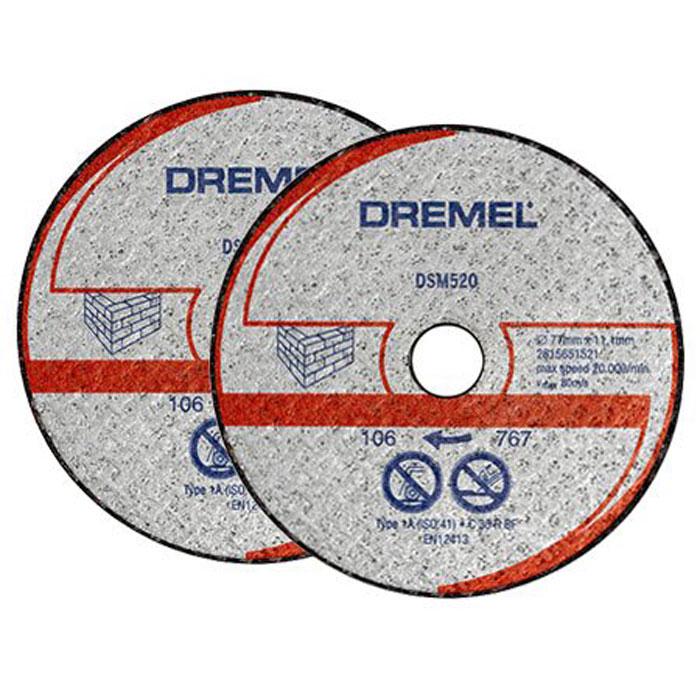 Отрезной диск по бетону Dremel DSM520 для Dremel DSM20, 2 шт2615S520JAДиск Dremel DSM520 - это армированный абразивный отрезной круг типа 1, предназначенный для резки камня и бетона. Рабочий диаметр: 20 мм. Диаметр диска: 77 мм. Посадочное отверстие: 11,1 мм. Максимальная скорость: 80 м/с. Максимальная скорость вращения: 20 000 об/мин.