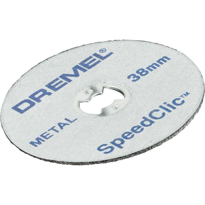 Набор насадок для резки по металлу Dremel SC456, 38 мм (2615S456JC)2615S456JCТонкие отрезные круги Dremel SC456 идеально подходят для точной резки любых металлов. Толщина армированных стекловолокном отрезных кругов 1,12 мм. В комплекте 5 шт. Диаметр хвостовика: 3,2 мм. Рабочий диаметр: 38,0 мм. Максимальная скорость вращения: 35 000 об/мин.