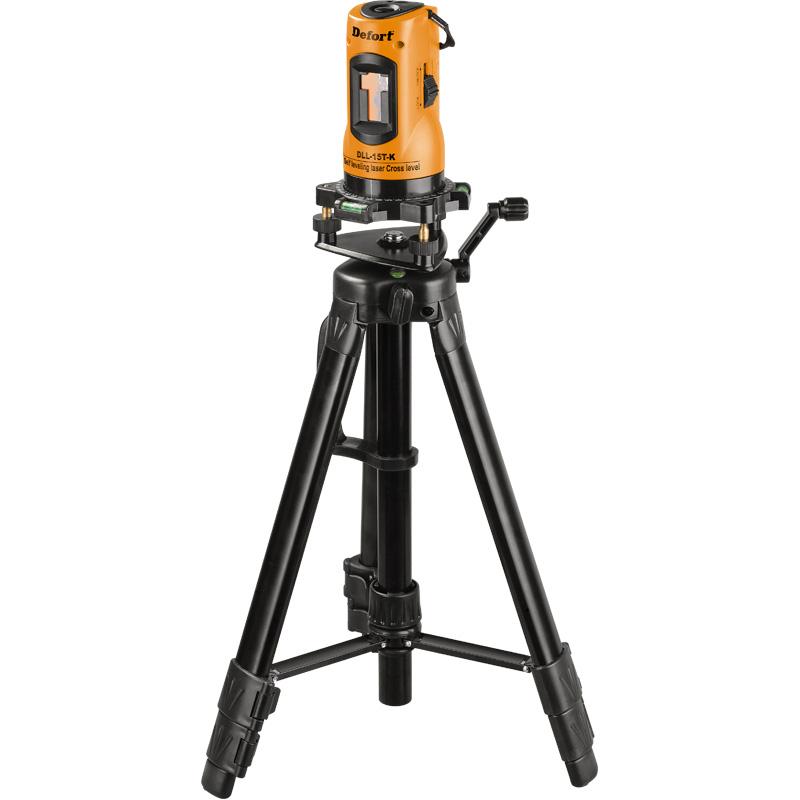 Лазерный уровень Defort DLL-15T-K98298871предназначен для построения и контроля горизонтальных и вертикальных линий. Измерительный инструмент пригоден исключительно для эксплуатации в закрытых помещениях. В комплект идет штатив. Особенности: Широкий диаметр рабочей зоны; Шкала 360 градусов; Построитель самовыравнивающегося лазерного креста.