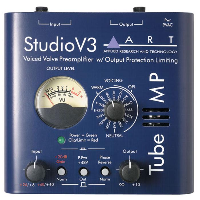 ART Tube MP Studio V3 предусилительTube MP Studio V3Одноканальный ламповый микрофонно-инструментальный предусилитель ART Tube MP Studio V3 с выходным лимитером, индикатором уровня и пресетным переключателем тембров. В устройстве используется технология V3 (Variable Valve Voicing), которая предлагает 16 пресетов, оптимизированных для работы с различными источниками сигнала (вокал, гитара, бас-гитара). Технология OPL (Output Protection Limiting) позволяет избежать клиппирования и перегрузки в сигнальной цепи. Есть настройки для получения неокрашенного звучания и настройки, включающие в себя комбинацию лампового утепления и лимитера. Устройство имеет стрелочный индикатор и ручку выбора пресета. ART Tube MP Studio V3 может быть также использовано как источник фантомного питания +48 В для конденсаторных микрофонов.