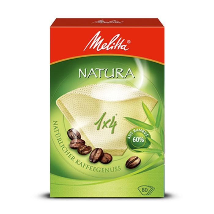 Melitta Natura фильтры для заваривания кофе, 1х4/800100998Экологичные фильтры Melitta Natura подарят вам невероятное удовольствие от приготовленного кофе и его аромата. При изготовлении данного вида фильтров используется 60% бамбука. Высочайшая степень фильтрации Чрезвычайно прочный двойной шов Размер 1x4
