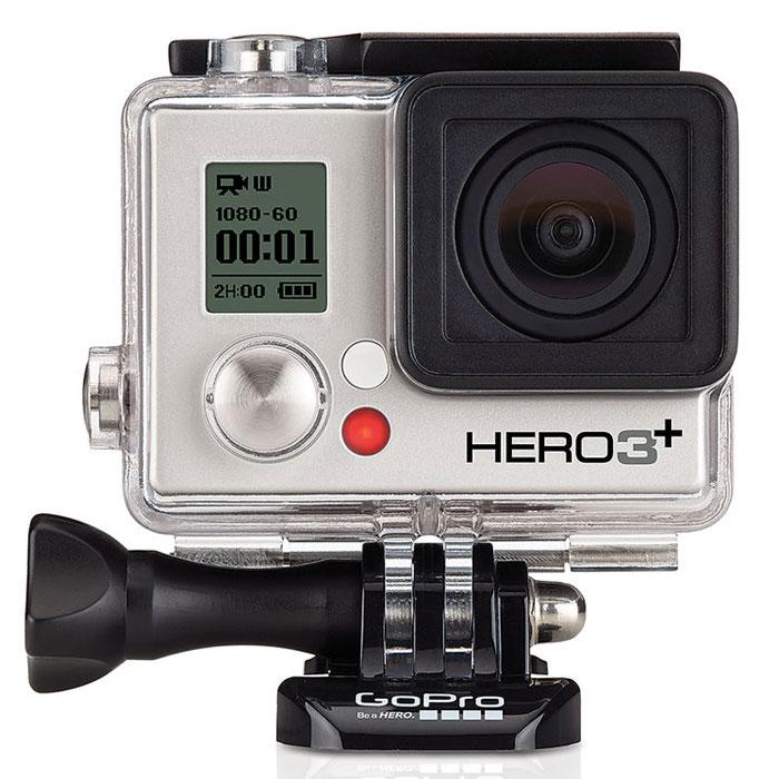 GoPro Hero3+ Silver Edition экшн-камераCHDHN-302Экшн-камера GoPro HERO3+ Silver Edition стала на 20% меньше и на 15% легче, чем предыдущая модель GoPro HERO3 Silver Edition. Эта камера имеет водонепроницаемый до 40 м аквабокс с плоской линзой и способна снимать высококачественное видео с разрешением 1080p 60 кадров/секунду, 720p 120 кадров в секунду видео и фотографии 10 Мпикс. Встроенный Wi-Fi-модуль стал в 4 раза быстрее, время работы от аккумулятора увеличилось на 30%. Великолепная фотосъемка: Камера HERO3+ Silver Edition имеет великолепную 10-мегапиксельную матрицу и снимает фото с частотой до 30 кадров в секунду. Такое сочетание идеально подходит для динамичной съемки. Режим Time Lapse позволяет автоматически снимать фото через каждые 0.5, 1, 2, 5, 10, 30 или 60 секунд. Более четкие изображения, меньше искажений: Наслаждайтесь четкими, более резкими кадрами с пониженными искажениями. Камера Gopro HERO3+ Silver Edition может похвастаться 33%-ым увеличением резкости изображения благодаря своей...