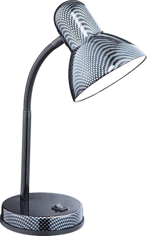 24893 Настольная лампа CARBON24893Офисные настольные лампы Globo Carbon 24893 в современном стиле способны довершить образ вашего кабинета. Металлическое основание черного цвета, плафон из металла. Офисная настольная лампа с максимальной мощностью 60W осветит комнату, площадью 3 кв.м.