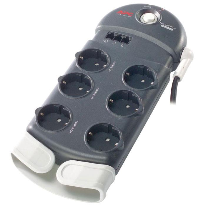APC PH6T3-RS Home/Office SurgeArrest сетевой фильтр на 6 розеток с защитой телефонной линииPH6T3-RSСетевой фильтр APC SurgeArrest PH6T3-RS создан для защиты электронной техники от короткого замыкания, перенапряжения и импульсных помех. Данная модель имеет шесть розеток евростандарта с заземлением. Также присутствуют три разъема RJ-11 для защиты телефона, факса или модема. Разделительный фильтр на две четырехпроводных телефонных линии с гнездами RJ-11 с защитой модема / факс-аппарата / DSL-модема