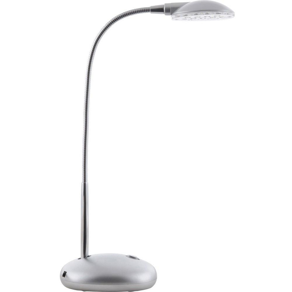 58370 Настольная лампа ET58370Globo Настольная лампа 58370. Эта маленькая, но очень симпатичная настольная лампа станет вашим верным помощником и украсит интерьер домашнего кабинета или же офиса. С лампой удобно читать, работать с бумагами или за компьютером. Подвижная ножка позволяет отрегулировать высоту подачи света в нужном направлении. Для вашего удобства так же предусмотрен выключатель, расположенный на основании корпуса электроприбора. Цвет модели гармонично сочетается с современной офисной техникой. Материал: Арматура: Металл/Плафон: Пластик Цвет: Арматура: Серебристый/Плафон: Серебристый Размер: 16х16х32 Материал: Арматура: Металл/Плафон: Пластик Цвет: Арматура: Серебристый/Плафон: Серебристый Размер: 16х16х32